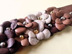 Romantic floral cuff in taupe ivory and dark by RetroBottegaShop