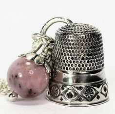 Antique Thimble and Acorn Hidden Kisses Peter Pan Necklace Solid Sterling Silver and Pink Opal by HooliganAlley on Etsy
