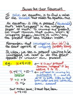 Solving One Step Equations, Instructional Sheet Free Download