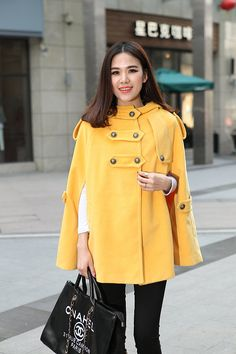 Hooded Yellow Coat Spring Cape Coat Women Wool Coat Sleeveless Outerwear Custom Made-WH016 M,L