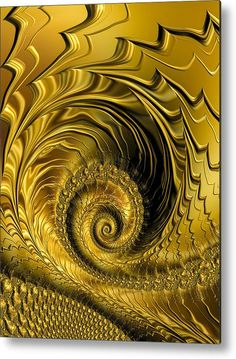 Golden Spiral Metal Print for sale. Abstract fractal art, glossy and shiny golden spiral with lines / waves. The image gets printed directly onto a sheet of aluminum. Metal prints are extremely durable and lightweight. The high gloss of the aluminum complements the rich colors of the image. Matthias Hauser - Art for your Home Decor and Interior Design.