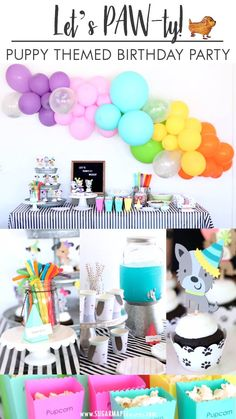 Let's Paw-ty! Puppy Themed Birthday Party Inspiration - Dog Party - Kids Birthday Party Ideas - Birthday Theme - Rainbow and Black & White Party Colors - Puppy Pawty - Woof Woof - Party Decor - Party Supplies - Balloon Garland DIY Puppy Birthday Parties, Girl Birthday Themes, Birthday Kids, Balloon Birthday, Birthday Banners, Birthday Month, Princess Birthday, Happy Birthday, Kids Party Decorations