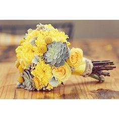 Grey and Yellow Wedding Ideas. I think those gray flowers are hens and chicks spray painted. Rebecca, this has succulents.