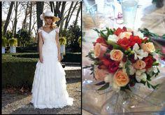 Bouquet de rosas y fressias para un vestido de Higar Novias 2013 #bodas #ramosdenovia