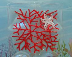 Sea Coral and Starfish ~ Fused Glass Dish, Tidbit Tray, Art, Sushi Plate