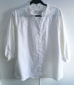 SALE CHICOS SZ 3 White Button Front  Blouse ~3/4 Sleeves, CASUAL, COOL, LOVELY #CHICOS #ButtonDownShirt #Casual