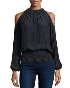 Lauren Cold-Shoulder Smocked-Waist Top by Ramy Brook at Neiman Marcus.  Anikó · szilveszteri ruha a401a36537