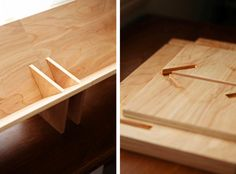 Currently coveting: Book/Shop owner Erik Heywood's tabletop bookshelves inspired byBruno Mathsson'sBook Crib, but designed to pack flat, slotti
