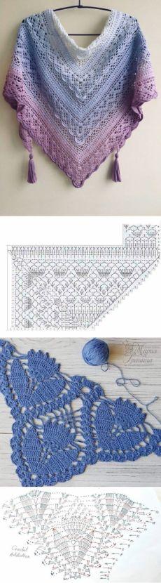Crochet Poncho, Crochet Scarves, Crochet Yarn, Crochet Stitches, Free Crochet, Shawl Patterns, Knitting Patterns, Crochet Patterns, Triangle Scarf