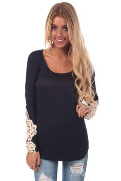 09ec2cebbe4f4 Lime Lush Boutique - Navy Top with Lace Detail Sleeves