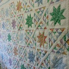 Hand Stitched ARCH Quilt 100% cotton pieced Star Blocks
