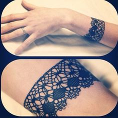 Pretty lace wrist tattoo!