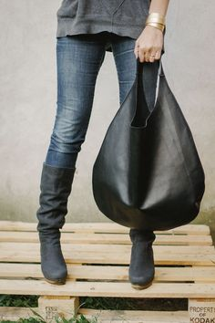 Black Leather Hobo Bag tote bag. $130.00, via Etsy.