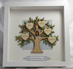 Handmade Personalised Family Tree Frame, Home Decor, Family Keepsake by LouisesCardsandGifts on Etsy Scrabble Frame, Scrabble Art, Box Frame Art, Box Frames, Homemade Pictures, Family Tree Frame, Personalised Family Tree, Tile Crafts, Handmade Frames