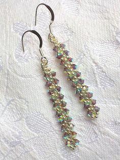 Clear crystal silver beadwork bar long drop by OdesiaMayJewellery