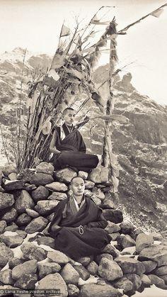 Lama Zopa (top) and Lama Yeshe meditating, 1960's.