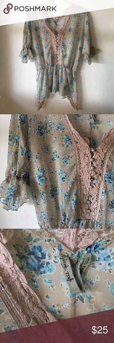 Free People floral blouse This is a like new Free People floral blouse. It has a cinched waist and awesome crochet-like lace around the neckline, down the front, and on the side edges. So perfect for the coming spring and summer months! Free People Tops