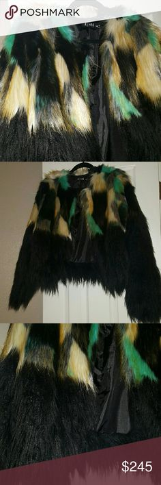 Multi-Color Fur Ultra fashionable coat sure to turn heads! Worn once to NY Fashion Week. Not real fur, but who cares when it looks this amazing! Size says S/M and will fit up to sizes 10-14! Im wearing it in my profile images. Jackets & Coats