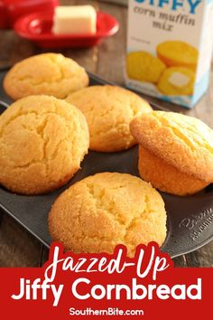 "This recipe for Jazzed-Up Jiffy Cornbread Muffins puts a delicious spin on the ""back-of-the-box"" recipe and makes sweet, moist cornbread muffins with a secret ingredient - mayonnaise! Moist Cornbread Recipe Jiffy, Jiffy Recipes, Sweet Cornbread, Cornbread Muffins, Cornbread Casserole, Cornbread Mix, Bisquick Recipes, Side Recipes, Muffin Recipes"