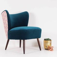 The New Bartholomew Cocktail Chair In Teal Velvet - furniture Room Interior Design, Interior Design Inspiration, Teal Chair, Cocktail Chair, Velvet Furniture, Mantle Piece, Upholstered Chairs, Home Living Room, Armchairs