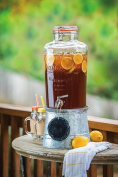 Mason Jar Drink Dispenser with Reversible Galvanized Stand and Ice Bucket