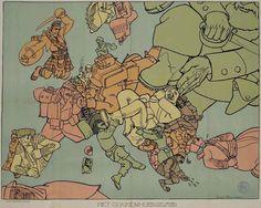 """""""The Insane Asylum"""", map by Louis Raemaekers (1869-1956) who was one of the most famous cartoonist/caricaturists of WWI.   (""""El manicomio"""", mapa del holandés Louis Raemaekers (1869-1956), quien fue uno de los más importantes caricaturistas de la primera guerra mundial)"""