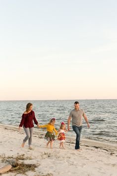 candid portrait of family walking on the beach - parents and two daughters in Ocean Springs, Mississippi Color Photography, Portrait Photography, Ocean Springs, Baby Co, Jo Malone, Two Daughters, Beach Walk, Engagement Shoots, Family Photographer