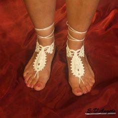 Barefoot Sandals White by LassCrochet on Etsy, $15.00