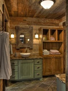 Best Rustic Bathroom Design and Decoration Ideas 2019 Selecting the restroom design is truly suggested. Bathroom interior design intends to make whoever owns the house feel comfort at bathroom however long. The fantastic part about rustic bathroom desi Rustic Master Bathroom, Rustic Bathroom Designs, Rustic Bathroom Decor, Rustic Bathrooms, Bathroom Interior Design, Rustic Decor, Bathroom Ideas, Log Cabin Bathrooms, Bathroom Mirrors