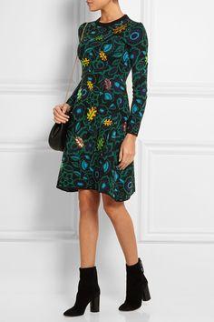 (KENZO|Shadow Flower appliquéd intarsia wool-blend dress)