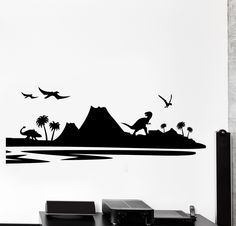 Dinosaur Silhouette Wall Quote Decal Custom Vinyl Art Stickers - Custom vinyl wall decals dinosaur