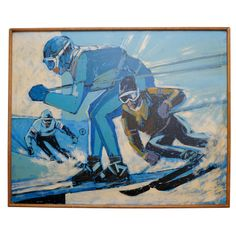 "1960's ""Skiing"" Oil painting 