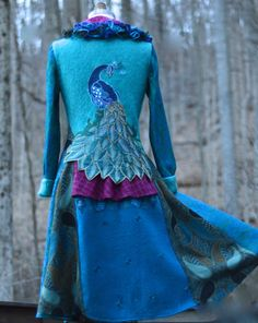 Peacock long sweater COAT eco Fantasy fashion in by amberstudios