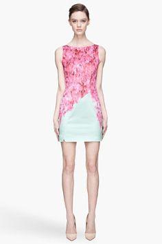 MATTHEW WILLIAMSON Fuchsia and mint green Weeping Blossom Mini Dress. $1325.00