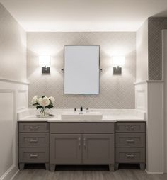 Cory Connor Design Bathrooms White And Grey Bathroom Gray Bathroom White And Grey Wallpaper Board And Batten Bathroom Board And Batt