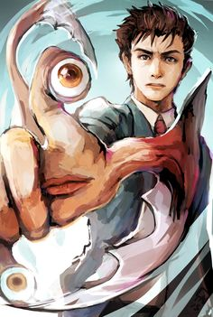 This anime is named Parasyte and is created and drawn by Hitoshi Iwaaki.