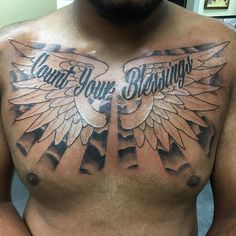 Count Your Blessings – Clouds With Wings Tattoo On Man Chest