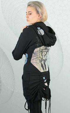 Ethical fashion made in Canada from organic fabric. Printed with visionary art, sacred geometry, totem animal, elephant, mandala art. Ethical Fashion, Womens Fashion, Visionary Art, Bustle, Fleece Hoodie, Mandala Art, Sacred Geometry, Hooded Jacket, Bamboo