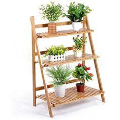 MALAYAS 3 Tier Plant Ladder Stand Shelves Indoor Garden Herb Flower Pot Display Shelf Rack Folding Bamboo Wood 97x70x40cm