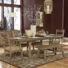 Nat Driftwood Acacia Wood Country Dining Set (Set of 6)