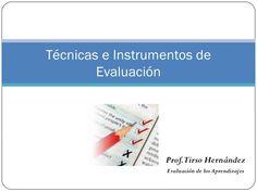 Técnicas e Instrumentos de        Evaluación                  Prof.Tirso Hernández                   Evaluación de los Apr...