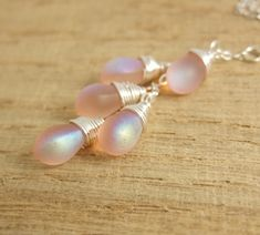 Necklace with a Cascade of Frosty Pink AB Glass Teardrops on a Sterling Silver Chain CDN-690 by jewelrybyroz on Etsy