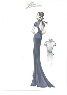 Once upon a Time with Gucci: Gucci's sketch for Livia Firth's gown for 65th Cannes Film Festival.