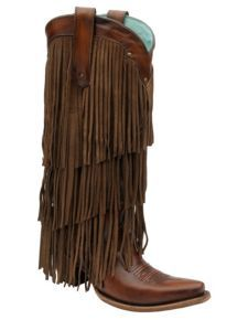 Corral Triple Layer Fringe Cowgirl Boots - Snip Toe $329.99....Dreaming!
