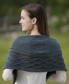 Hayden shawlette. Work cable border first, then pick up stitches along edge and work short rows. Simple and elegant.