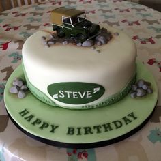Off road car theme cake with Landrover, cake for men