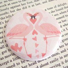 Pocket Mirror - Flamingo Love.