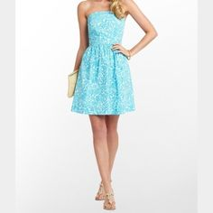 Lily Pulitzer Sundress! Beautiful Blue Pattern! Never Worn with Tags on! Lilly Pulitzer Dresses Strapless