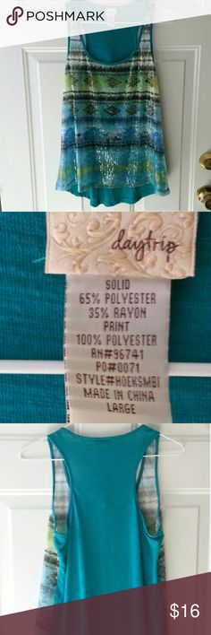 Daytrip print tank Daytrip print tank, the front is sheer and meant for layering. Very pretty,  pictures don't do ot justice! Like turquoise color Daytrip Tops Tank Tops