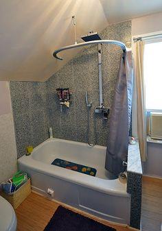 Kvartal Shower Curtain For Dormered Bathroom